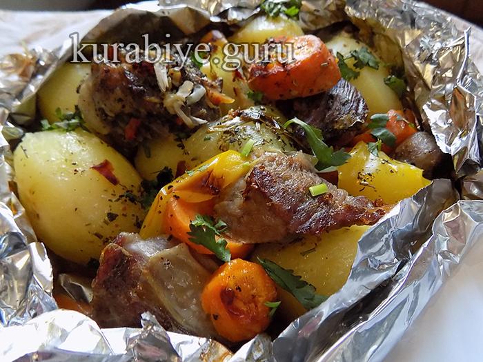 Мясо гриль с овощами в духовке рецепт с фото