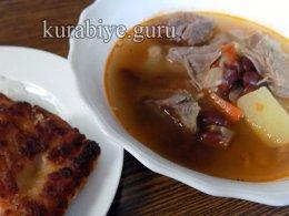 Фасолевый суп с картофельными хлебцами